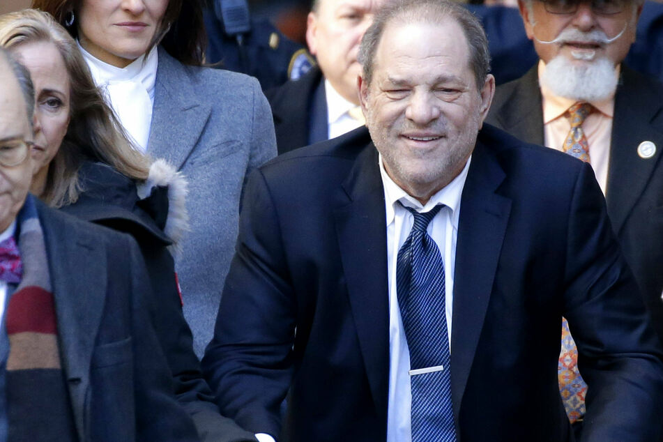 Harvey Weinstein exits Manhattan Supreme Court after day four of deliberations in his rape trial in February.