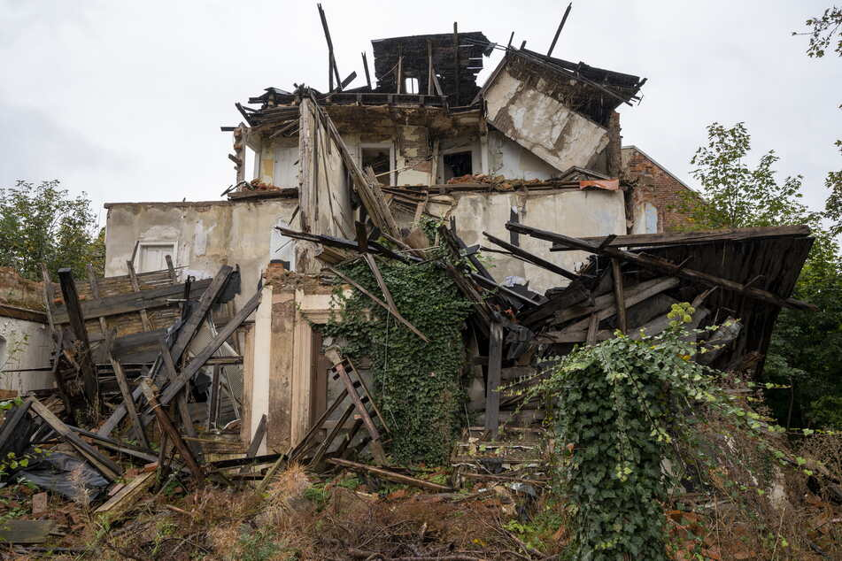Die ewige Ruine an der Zschopauer Straße 174. Nur der Efeu arbeitet daran, sie verschwinden zu lassen.