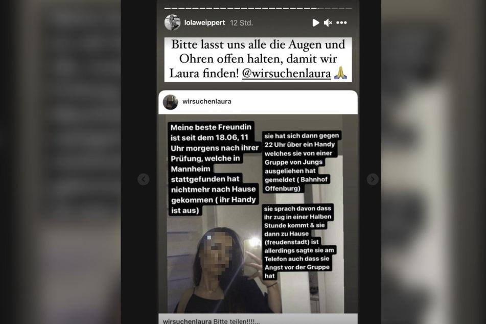 """Moderatorin Lola Weippert (25) teilt in einer Instagram-Story den Account """"wirsuchenlaura"""", der um Mithilfe bei der Suche nach der vermissten 20-Jährigen bittet."""