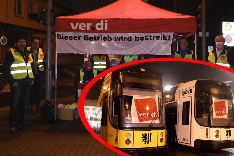 DVB-Streik in vollem Gange: Busse und Bahnen stehen still