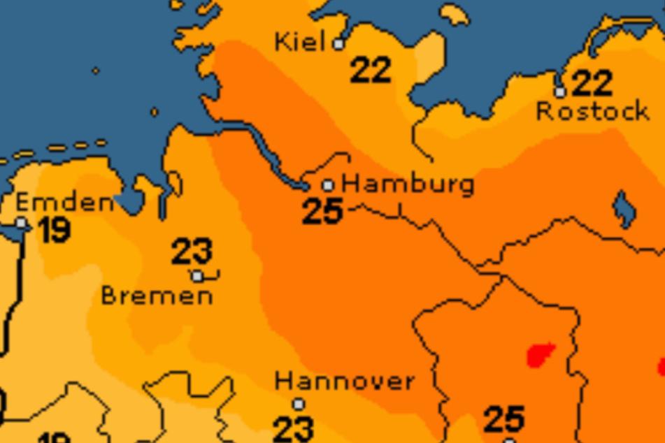 Die Temperaturen schwanken um die 24 Grad.