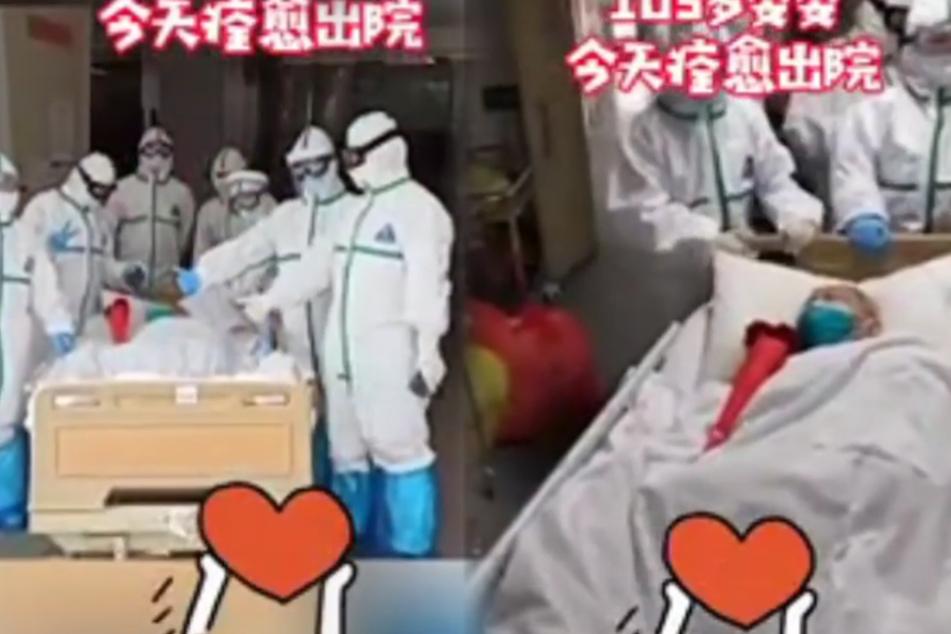 Zhang Guangfen (103) in ihrem Krankenhausbett.
