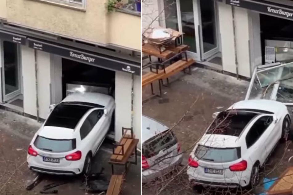 Berlin: Mercedes-Fahrer rammt mehrmals Burger-Laden in Friedrichshain und flüchtet