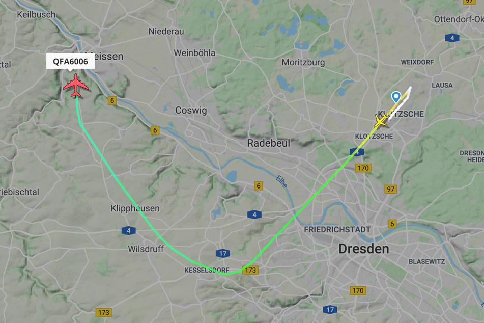 Und tschüss: Der Airbus A380 flog zum Abschied einen Schwenk über die Dresdner Altstadt.
