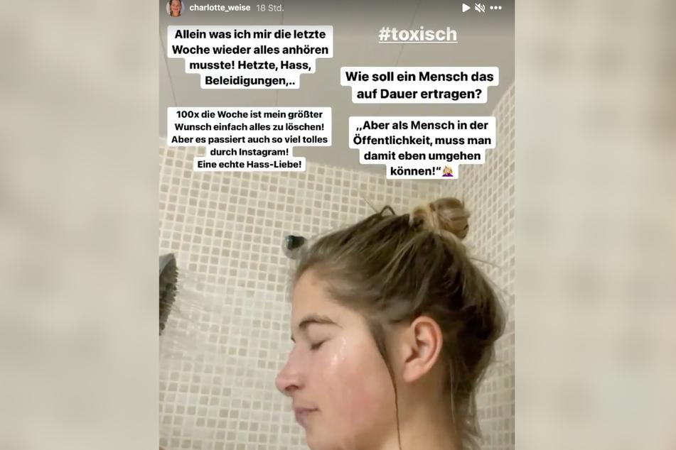 Influencerin Charlotte Weise (28) denkt wegen täglicher Hass-Nachrichten darüber nach, ihr Instagram-Profil zu löschen.
