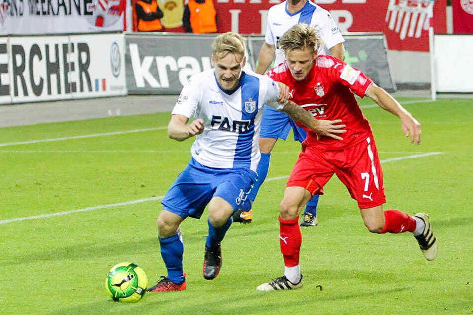 Bentley Baxter Bahn (r., gegen gegen Magdeburgs Nils Butzen) wird auch heute auf seiner üblichen Position im rechten Mittelfeld spielen.