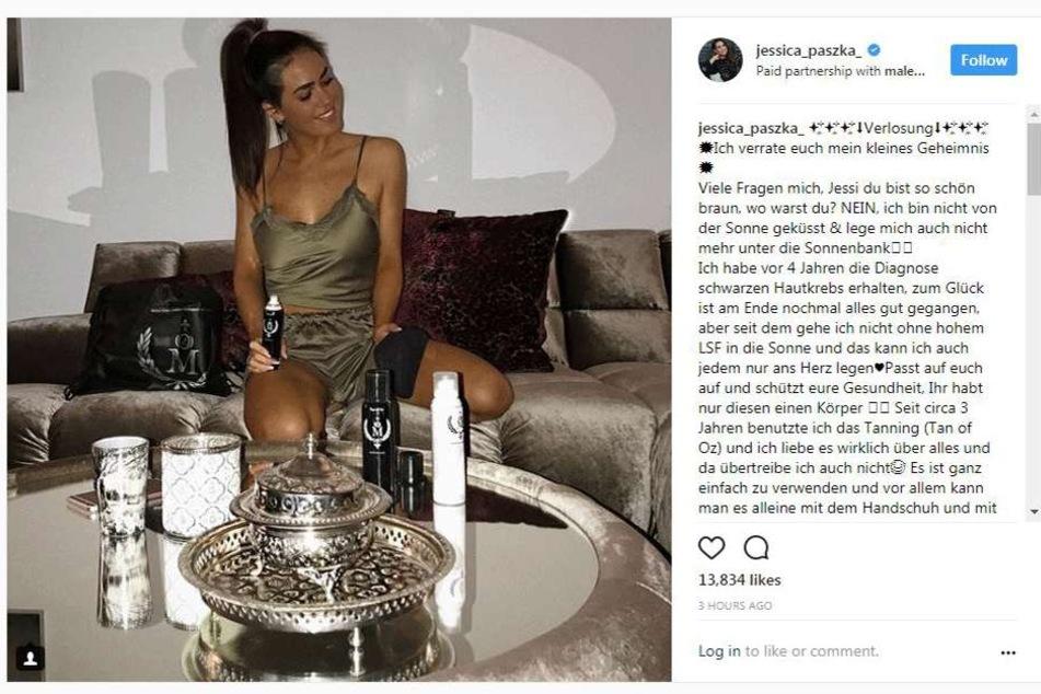 Jessica Paszka präsentiert auf Instagram ihr Gewinnspiel und schreibt offen über ihren Krebs.