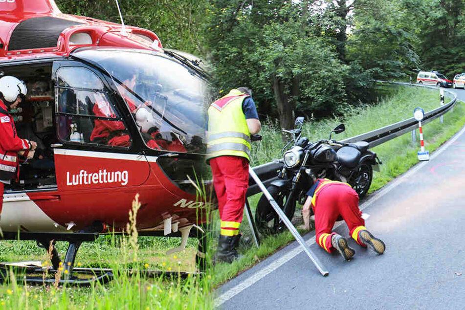 Der Kawasaki-Fahrer stieß frontal mit dem Auto zusammen und musste per Rettungshubschrauber ins Krankenhaus geflogen werden.