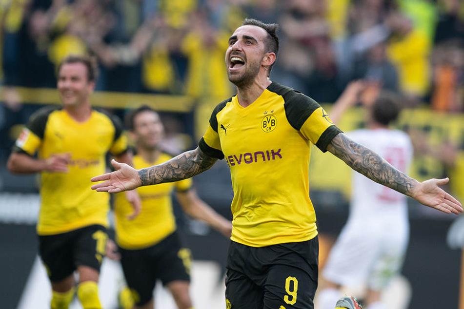 Traf für Borussia Dortmund dreifach: Der spanische Stürmerstar Paco Alcacer schoss den BVB zum 4:3-Sieg über den FC Augsburg.