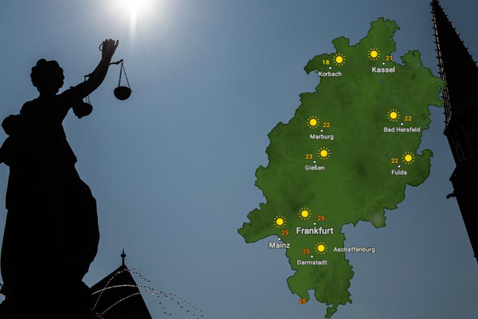 Auch über der Justitia am Frankfurter Römerberg wird in den kommenden viel die Sonne scheinen.