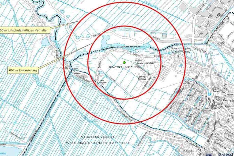 Die Karte der Polizei Bremen zeigt den Fundort der Bombe.
