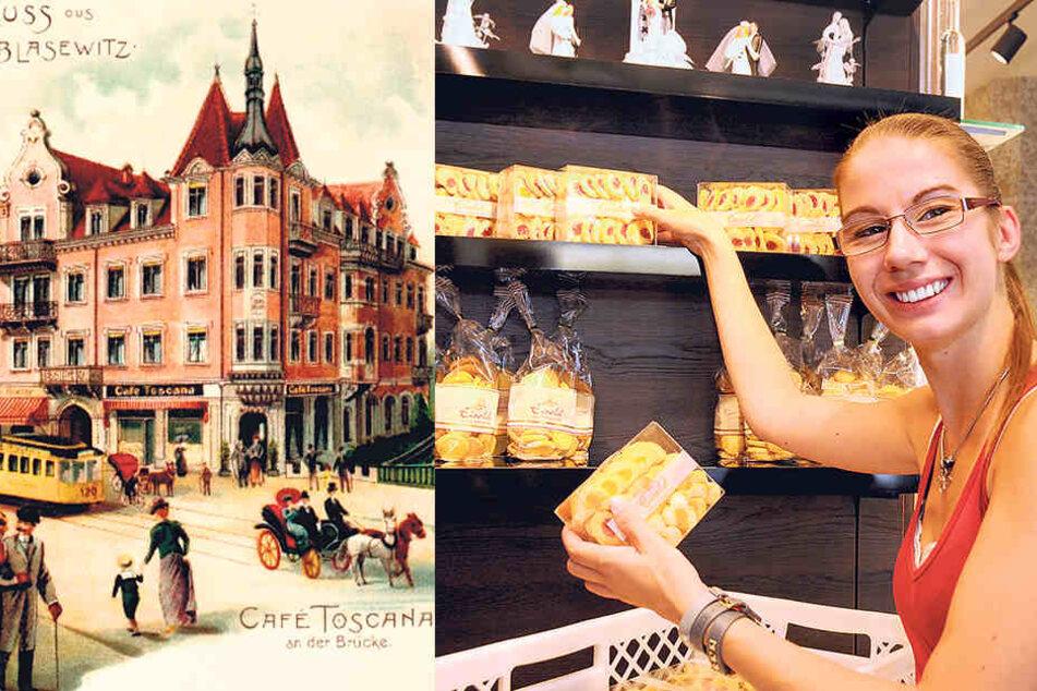 Anne Priebsch (27) bestückt das Regal mit leckeren Keksen aus der eigenen  Backstube.
