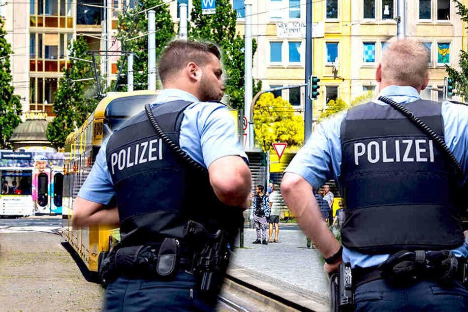 Am Albertplatz prügelte eine Gruppe von jungen Männern auf vier Herren ein. Die Polizei musste einschreiten (Bildmontage).