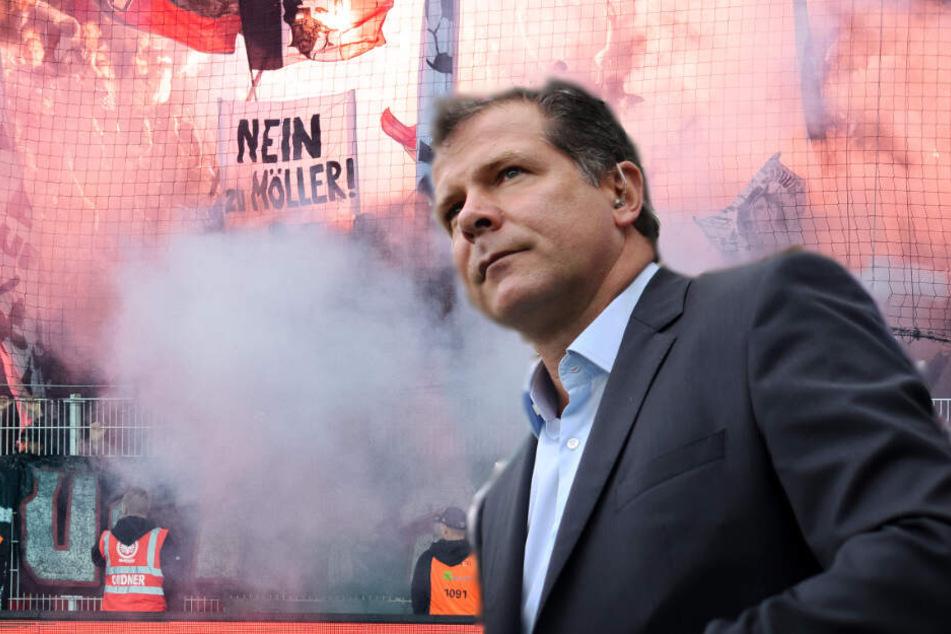 In den vergangenen Wochen hatten die Eintracht-Ultras immer wieder im Stadion mit Transparenten gegen Andreas Möller protestiert.