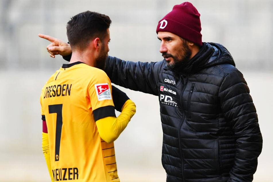 Schickt Dynamo-Trainer Cristian Fiel (r.) Niklas Kreuzer beim HSV ins Rennen?