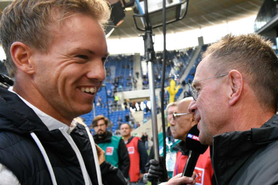 TSG-Coach Nagelsmann mit seinem baldigen Chef Ralf Rangnick.