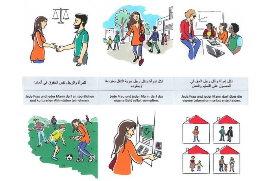 Zeichnungen erklären geflüchteten Frauen ihre Rechte.
