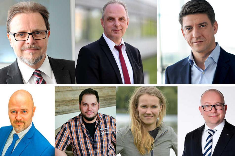 Die Chemnitzer Kandidaten (obere Reihe, v.l.): Frank Heinrich (CDU), Detlef Müller (SPD), Michael Leutert (Linke), (untere Reihe, v.l.): Nico Köhler (AfD), Toni Rotter (Piraten), Meike Roden (Grünen), Frank Müller-Rosentritt (FDP)