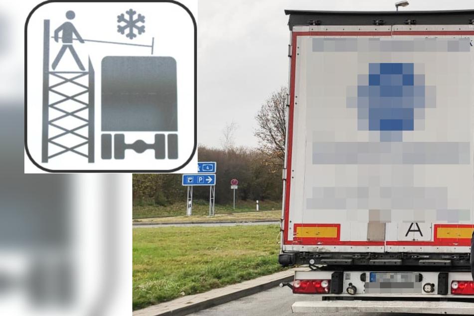 Festgefrorenes Eis von Sattelzug kracht in Windschutzscheibe von Transporter