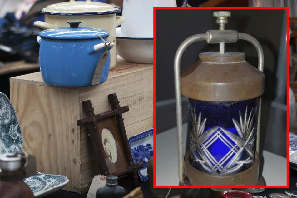 Bei dem Gefäß handelte es sich um einen Radiumbecher (r.) (Fotomontage).