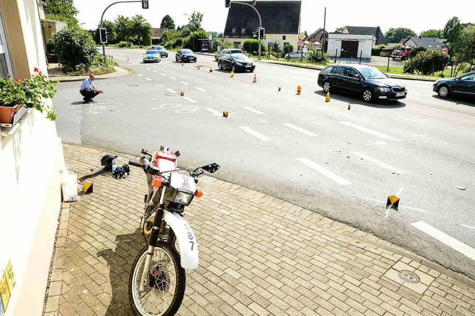 An dieser Kreuzung ereignete sich der Crash mit einem schwer Verletzten und 7.000 Euro Schaden.