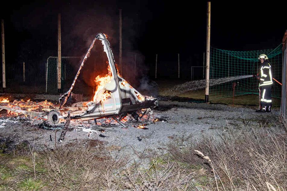 In Bischofswerda brannte ein Wohnwagen aus.
