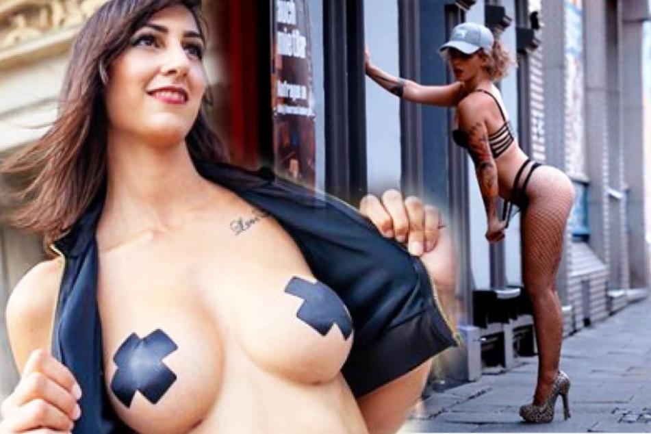 Lia Lion (li.) und Sweet Luna wollen in Dessous für Toleranz in der Erotik-Branche in der Leipziger Fußgängerzone kämpfen.