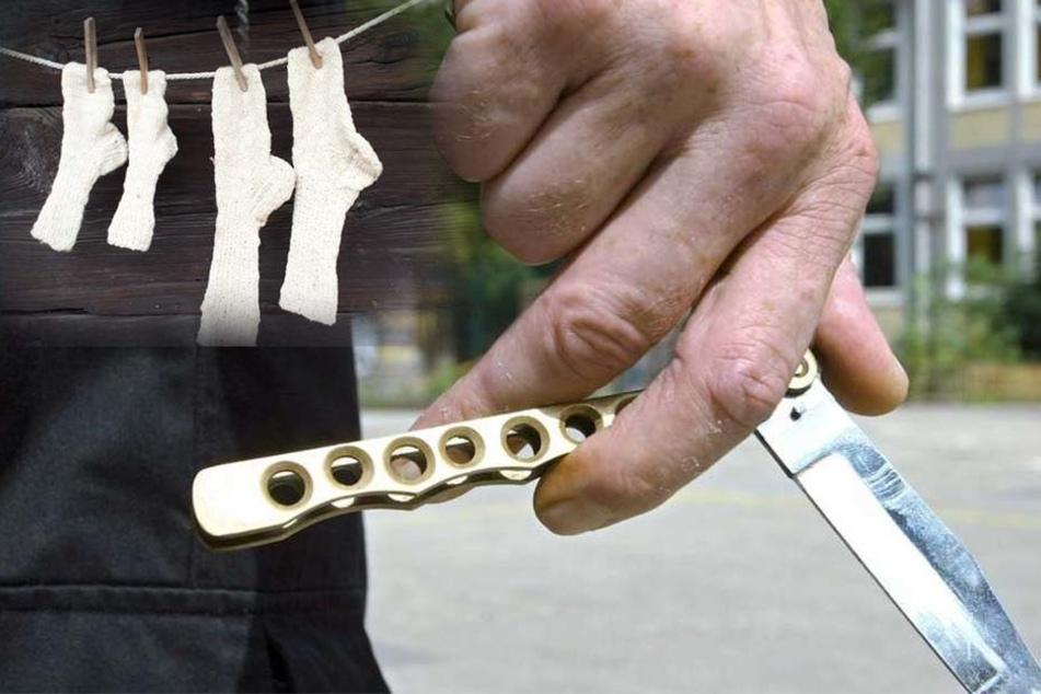 Mann bedroht Frauen mit Messer, weil er ihre Socken haben will