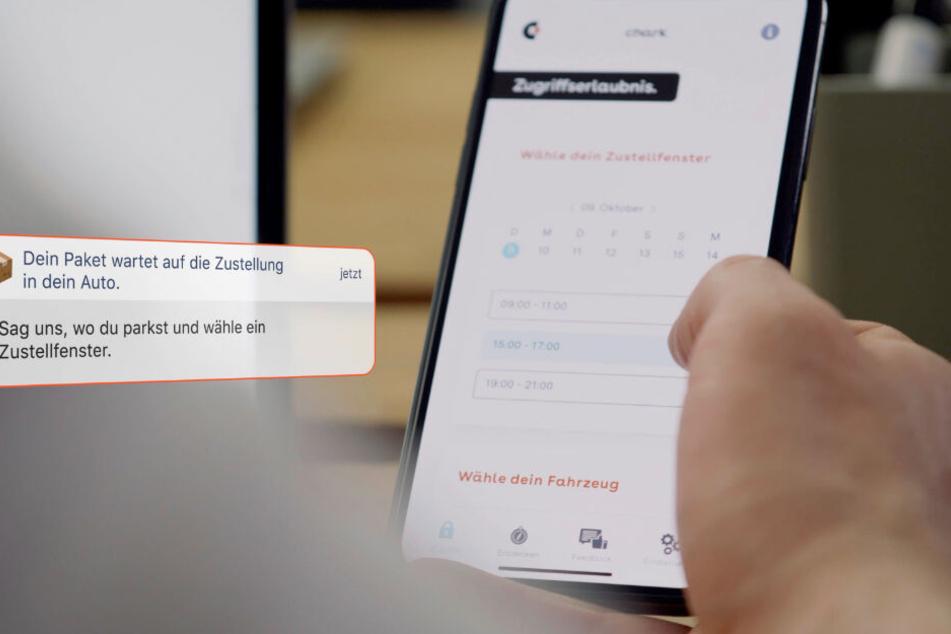 Per App gibt man den Standort seines geparkten Autos durch und wird über den gesamten Zustell-Prozess benachrichtigt.