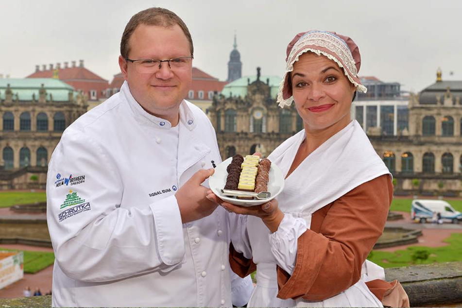 Schokoladenmädchen Henriette Ehrlich (45) und Konditoren-Obermeister Jens Grandel (42) laden im November zum Schoko-Genuss in den Zwinger ein.