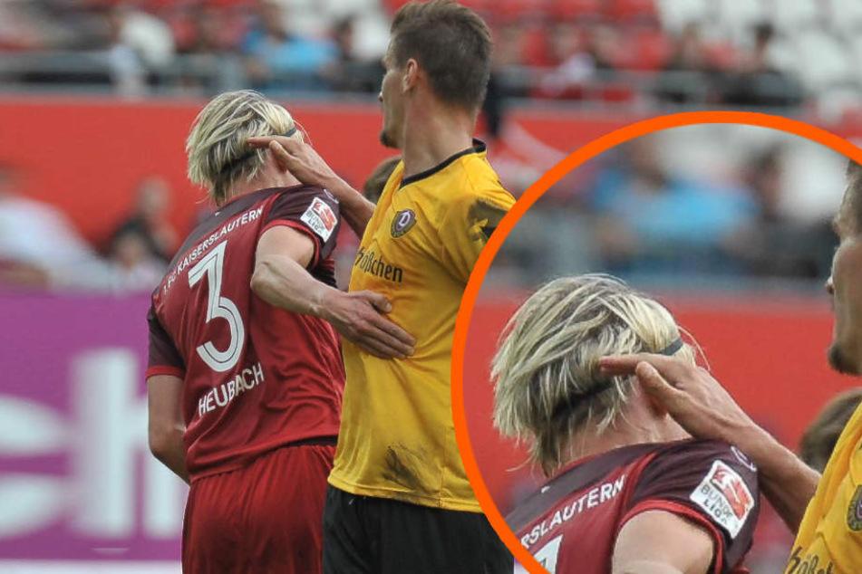 Hier rutscht Dynamo-Stürmer Stefan Kutschke (r.) gegen Tim Heubach die Hand aus – der Schiedsrichter hat's zum Glück nicht gesehen.
