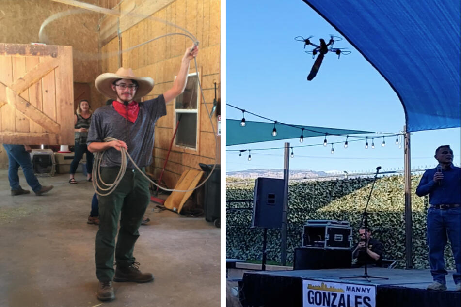 Kaelan Ashby Dreyer (l.) caused mayhem when he and friends disrupted a New Mexico political event with a flying dildo on a drone (r.).