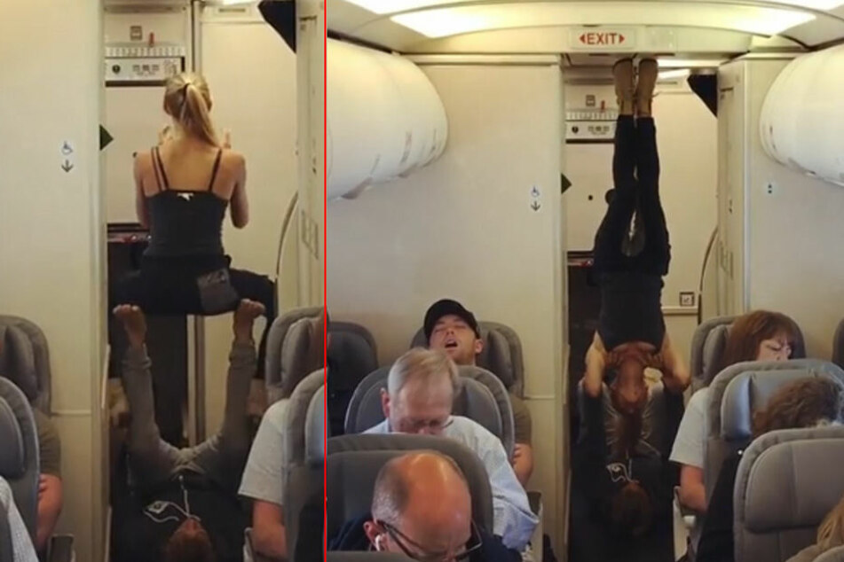 Die beiden Yoga-Verrückten nutzten die Zeit im Flieger für ein Workout.
