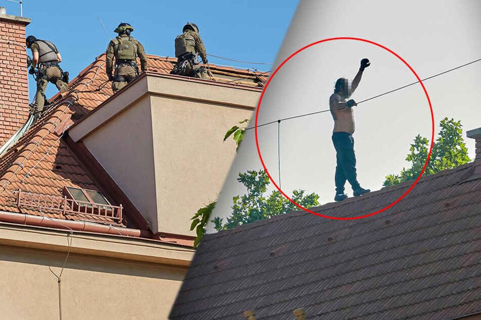 Mann flieht vor der Polizei halbnackt aufs Dach: SEK rückt an