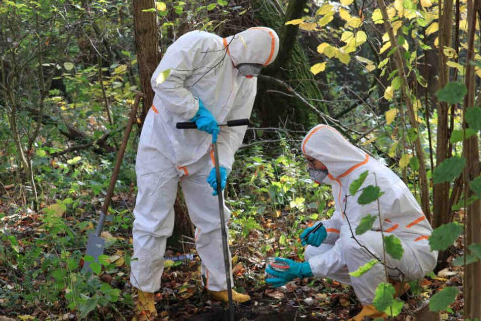 Mitarbeiter einer von der Umweltbehörde beauftragten Spezialfirma nehmen in Schutzanzügen Bodenproben in der Boberger Niederung.