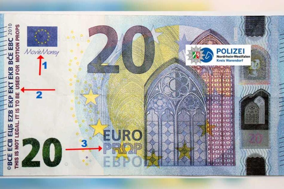 An einigen Stellen kann erkannt werden, dass es sich bei dem 20-Euro-Schein um eine Fälschung handelt.