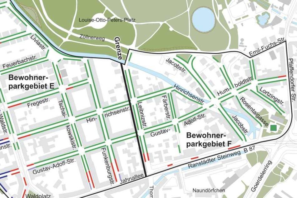 Bewohner entlang der Grenze an der Leibnizstraße dürfen teilweise nicht direkt um die Ecke herum parken, da dieser Bereich zum anderen Parkgebiet zählt.