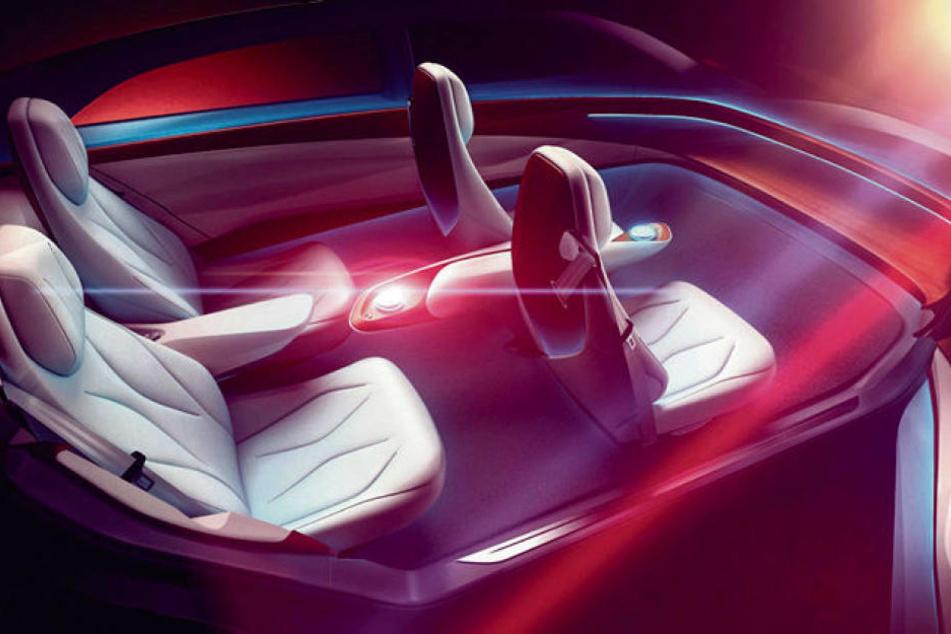 """Mit der E-Mobil--Studie """"I.D. Vizzion"""" ohne Lenkrad geht Volkswagen beim Genfer Autosalon an den Start."""