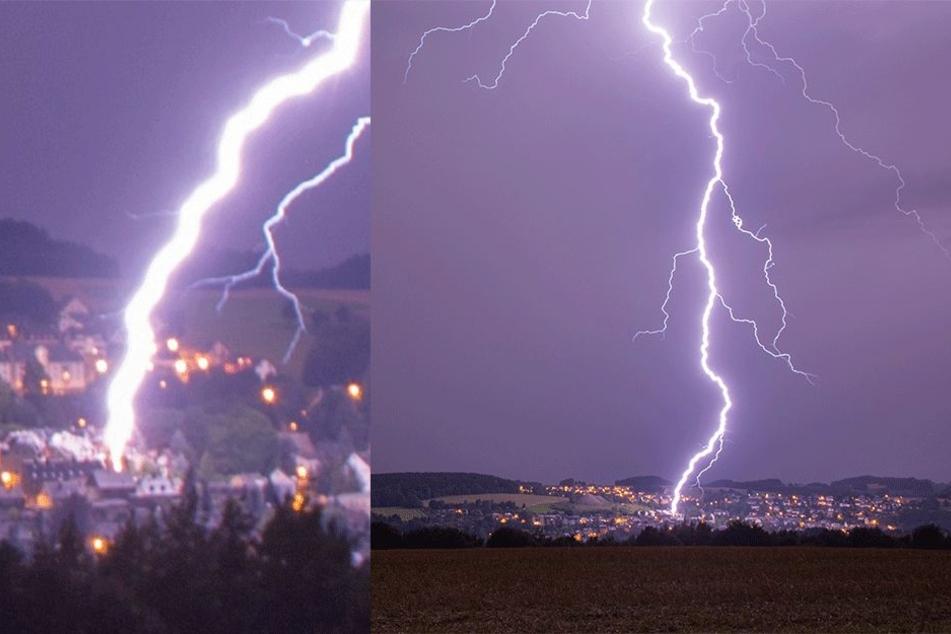 In den letzten Nächten schlugen wieder hunderte Blitze in Sachsen ein.