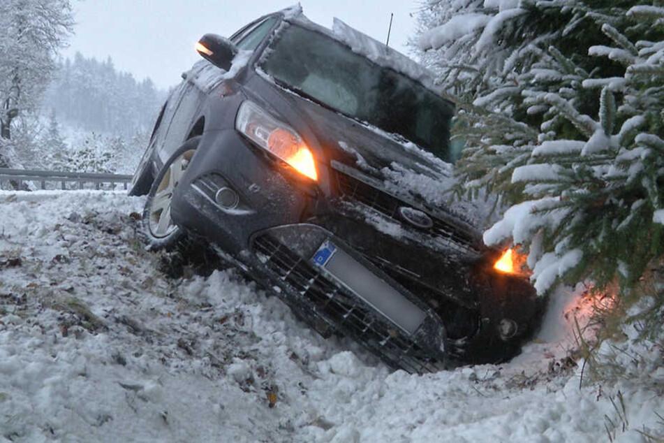 Bei Oberwiesenthal landete ein Ford im Straßengraben.