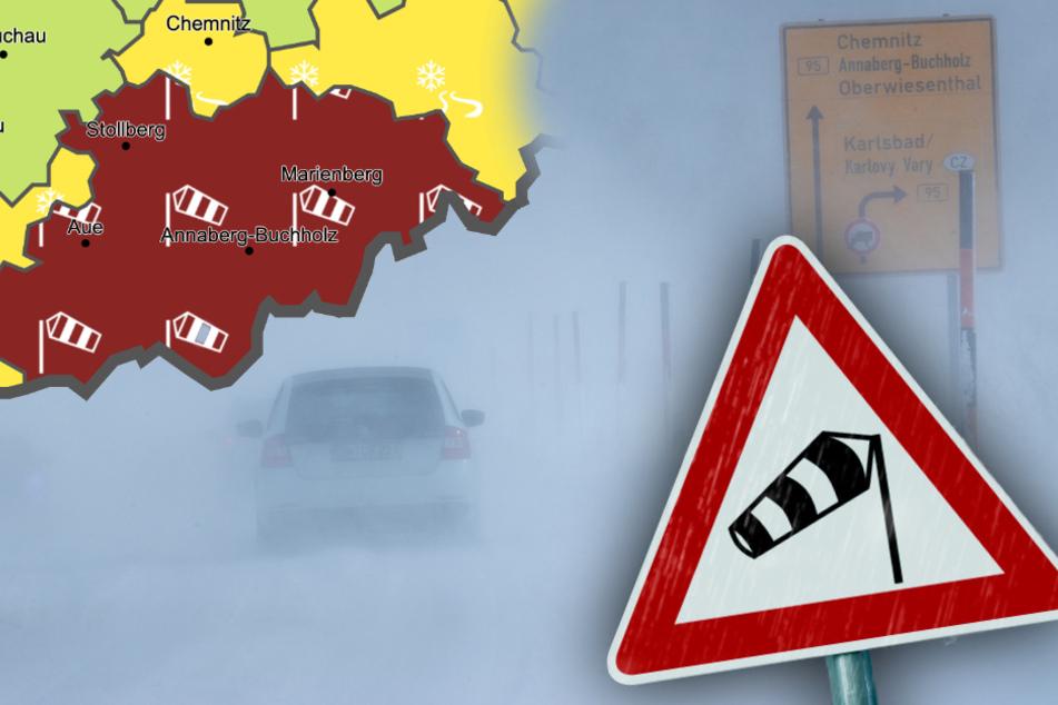 Unwetter-Warnung für das Erzgebirge: Heftiger Sturm im Anmarsch