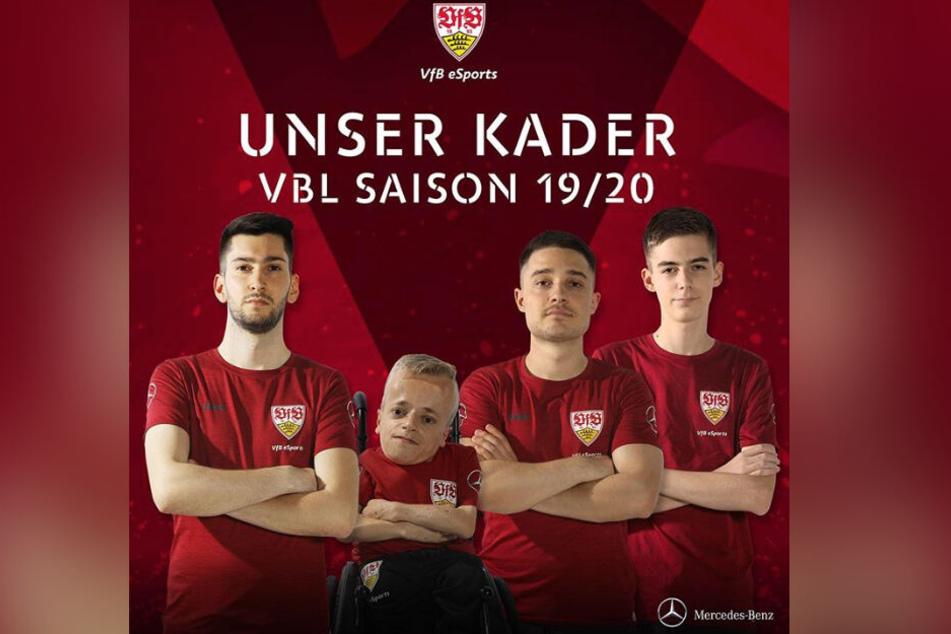 Der Kader des VfB eSports für die neue Saison: Burak May, Niklas Luginsland, Marcel Lutz und Lukas Seiler (v.l.n.r.).