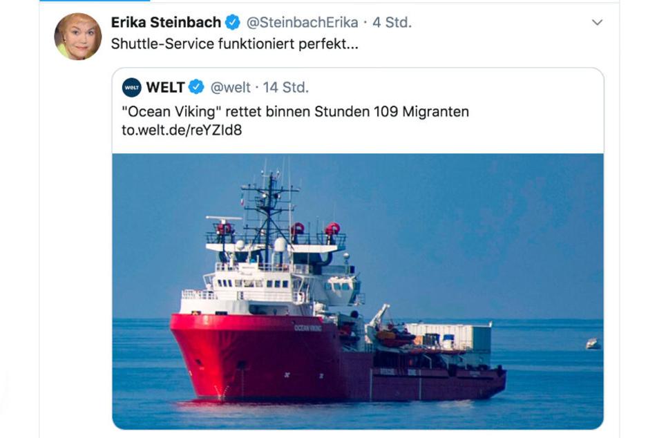 Dieser Screenshot zeigt den Tweet von Erika Steinbach.