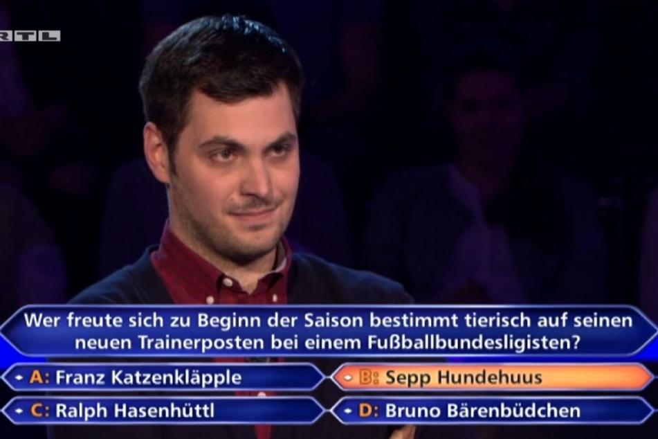 Der Kandidat ist sich sicher, dass Sepp Hundehuus die richtige Antwort ist. Alles andere klingt ja nach Quatsch, meint er.