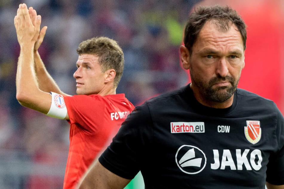 """Freie Fahrt für Thomas Müller und Co.? """"Pele"""" Wollitz sieht keine Chancen im Spiel gegen den großen FC Bayern München. (Bildmontage)"""