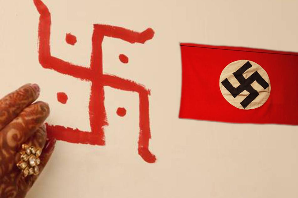 Zum Vergleich: Links das Zeichen der Hindus, rechts das Nazi-Hakenkreuz.