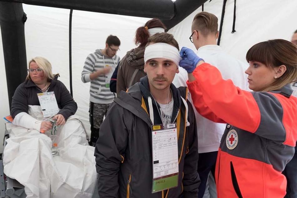 """Erstversorgung nach der """"Katastrophe"""" und sortieren von Verletzten in einem Zelt."""