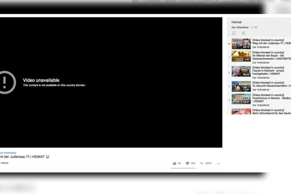 """Diese Botschaft erscheint nun bei allen Videos des rechtsextremen Youtubers """"Volkslehrer"""""""