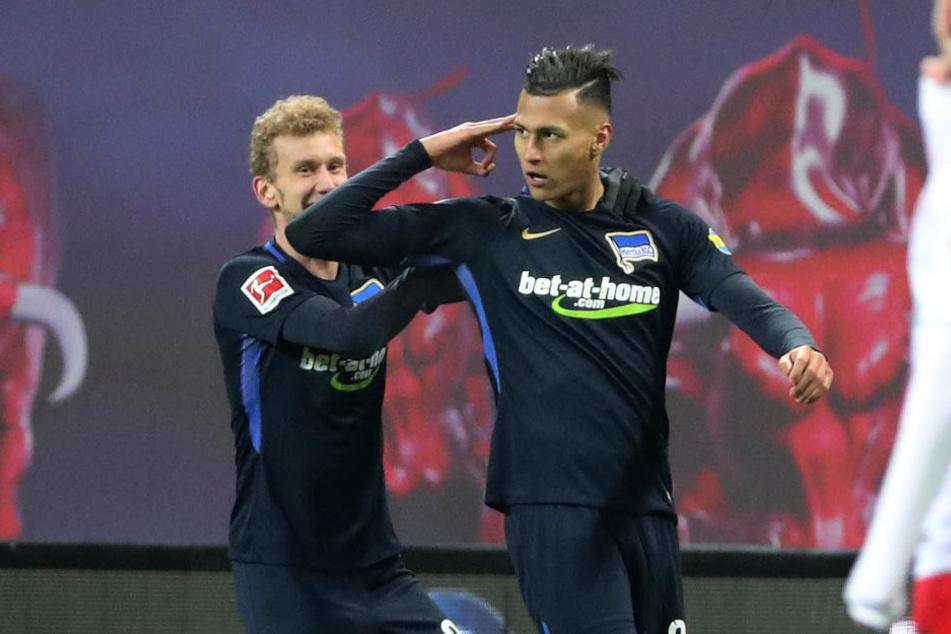 War am Sonntag nicht zu stoppen: Der ehemalige Leipziger Davie Selke (r.) knockte RB Leipzig mit zwei Toren fast im Alleingang aus.