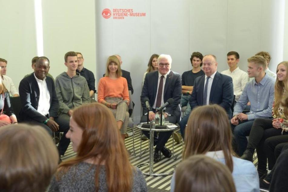 Frank-Walter Steinmeier war am Donnerstag zu Besuch in Dresden.